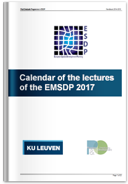 Calendar of the lectures of the EMSDP 2017